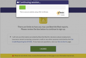 BeenVerified secure connection message