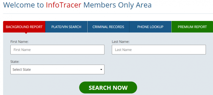 Infotracer  main page and search bars
