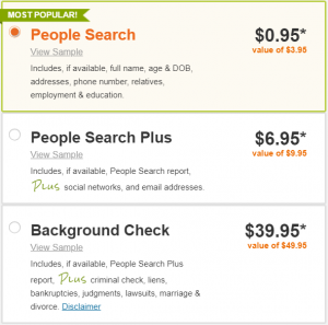 Intelius people search pricing