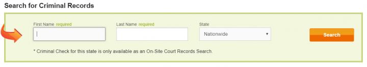 Intelius criminal record search bar