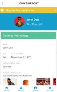 TruthFinder report on smartphone app