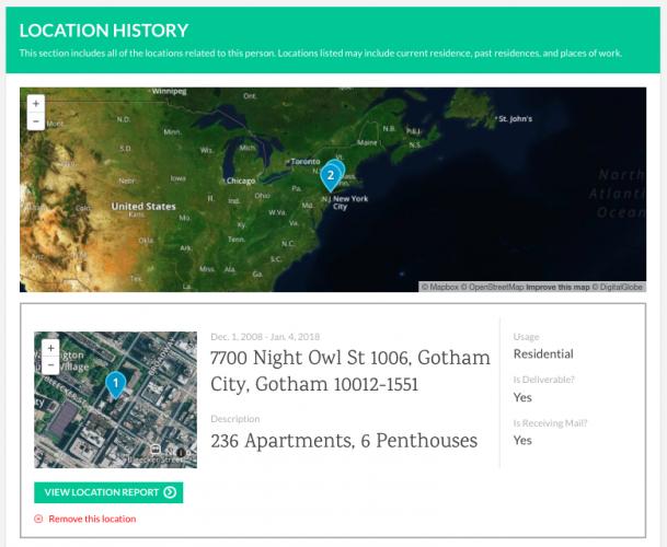 TruthFinder Location History