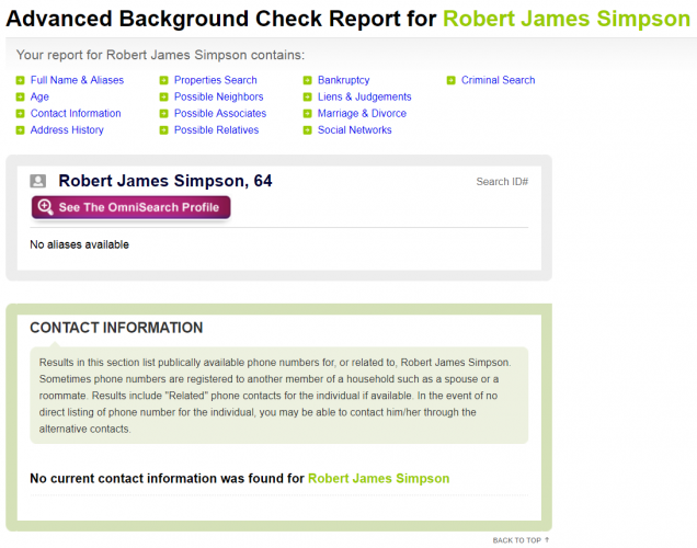 US Search background report