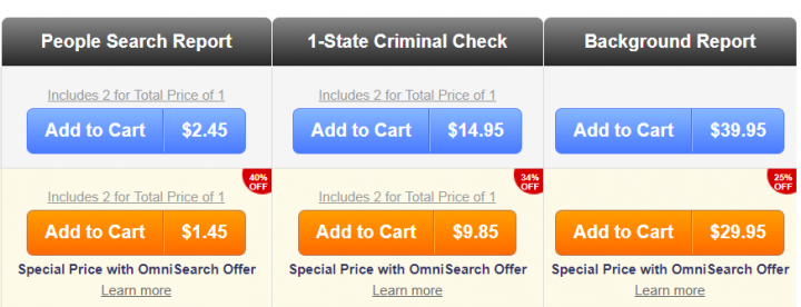 US Search pricing list